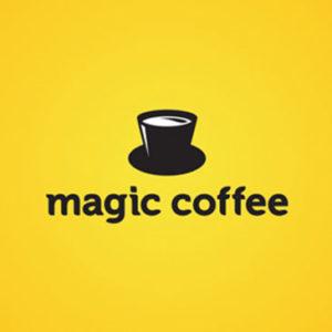 Logos creativos: Magic Coffee y su mensaje subliminal de una taza de café que es un sobrero de mago