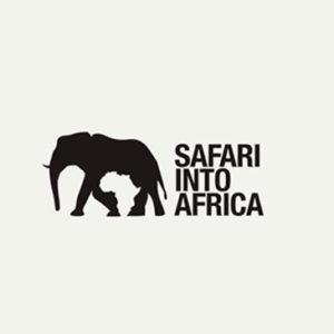 Logotipo de Safari Into África y su mensaje subliminal del mapa de África formado por las patas del elefante