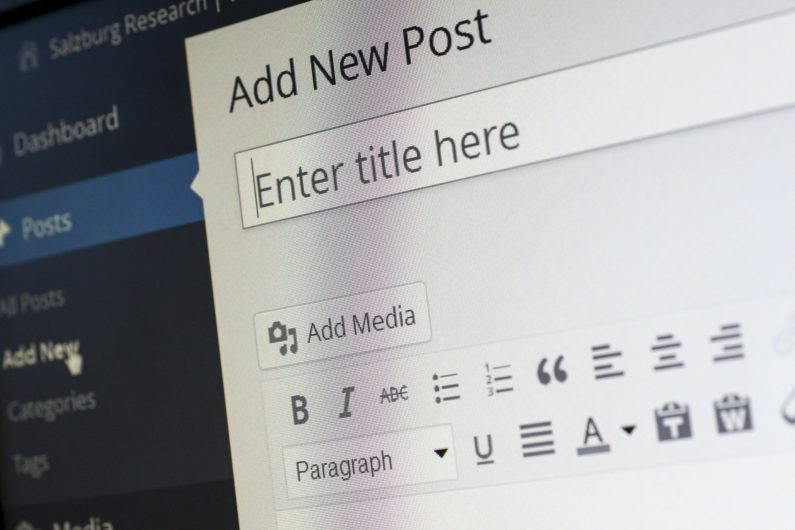 El back end de wordpress para crear una entrada nueva en el blog