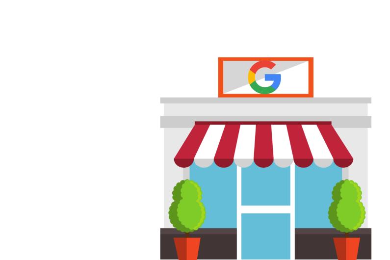 un dibujo de una tienda que representa cómo crear una ficha de google my business